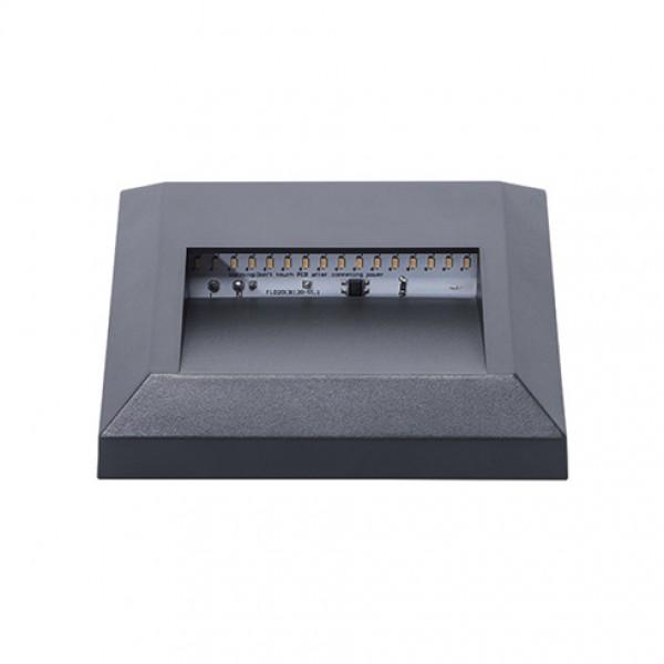 Oldalfali LED lámpatest , 1,1W , falon kívüli , négyzet , kültéri , IP65