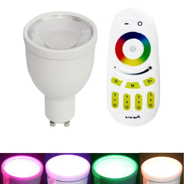 LED lámpa , égő , szpot ,  GU10 foglalat , 4 Watt , RGBW,