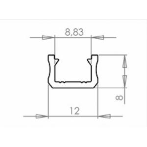 Alumínium U profil , 8 mm-es LED szalaghoz , 1 v 2 méter , MATT fedővel , NEKEM8