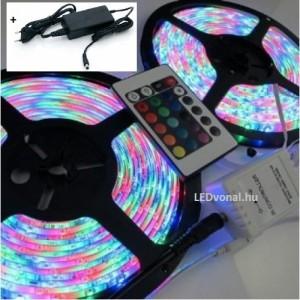 LED szalag szett , 10m RGB szalag + Dimmer , 24 gombos távirányítóval + 80 Wattos dugvillás tápegység