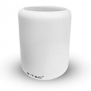 LED lámpa , hordozható , beépített hangszóróval , Bluetooth , színes hangulatvilágítás , 5W , fehér érintő felülettel