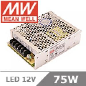 LED tápegység 12 Volt , 75 Watt , 6A , ipari , Mean Well
