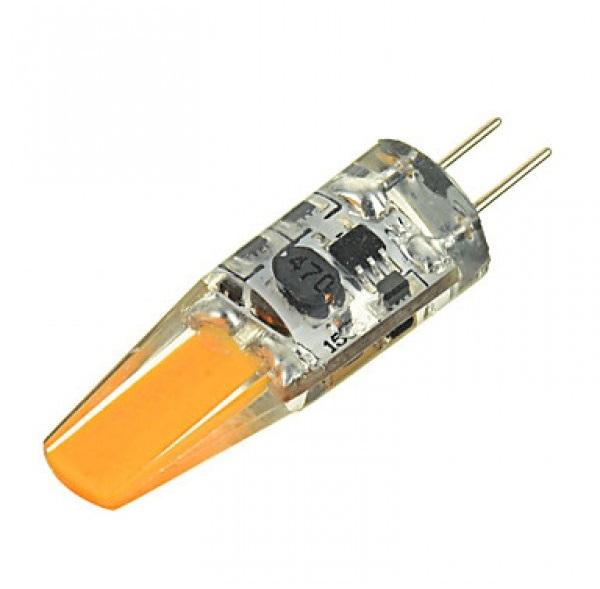 LED lámpa , 12V DC , kukorica , G4 foglalat , 2 Watt , 320° , szilikon bevonat , hideg fehér, COB