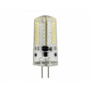LED lámpa , 12V DC , kukorica , G4 foglalat , 3 Watt , 360° , szilikon bevonat , hideg fehér