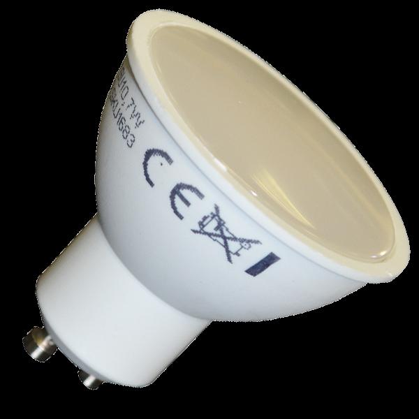LED lámpa , égő , szpot , GU10 foglalat , matt előlappal , 110° , 7 Watt , természetes fehér