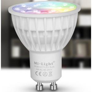 LED lámpa , égő , szpot ,  GU10 foglalat , 4 Watt , RGB + fehér , állítható fehér színárnyalat