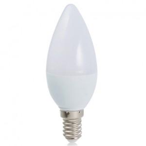 LED lámpa , égő , gyertya , E14 foglalat , x 3 Watt , 120° , hideg fehér