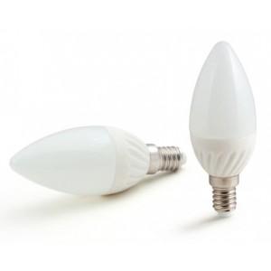 LED lámpa , égő , gyertya , E14 foglalat , 4 Watt , 180° , hideg fehér , Optonica