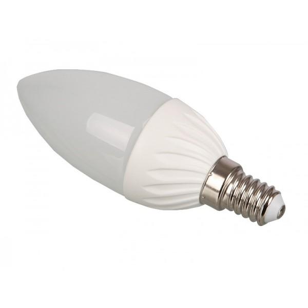 LED lámpa égő, E14 foglalat, gyertya forma, 4 watt, meleg fehér
