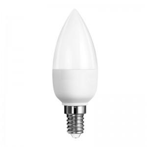 LED lámpa , égő , gyertya , E14 foglalat , 6 Watt , 180° , hideg fehér