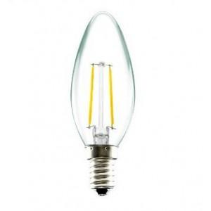 LED lámpa , égő , izzószálas hatás , gyertya , E14 foglalat , 2 Watt , 300° , meleg fehér