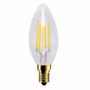 LED lámpa , égő , izzószálas hatás , gyertya , E14 foglalat , 4 Watt , 300° , meleg fehér
