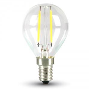 LED lámpa , égő , izzószálas hatás , körte , E14 foglalat , 2 Watt , 300° , meleg fehér
