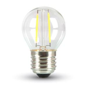 LED lámpa , égő , izzószálas hatás , körte , E27 foglalat , 2 Watt , meleg fehér