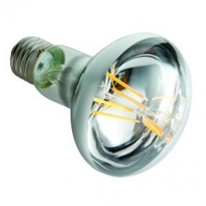 LED lámpa , égő , izzószálas hatás , tükrös reflektor , R63 , szpot , E27 foglalat , 6 Watt , meleg fehér