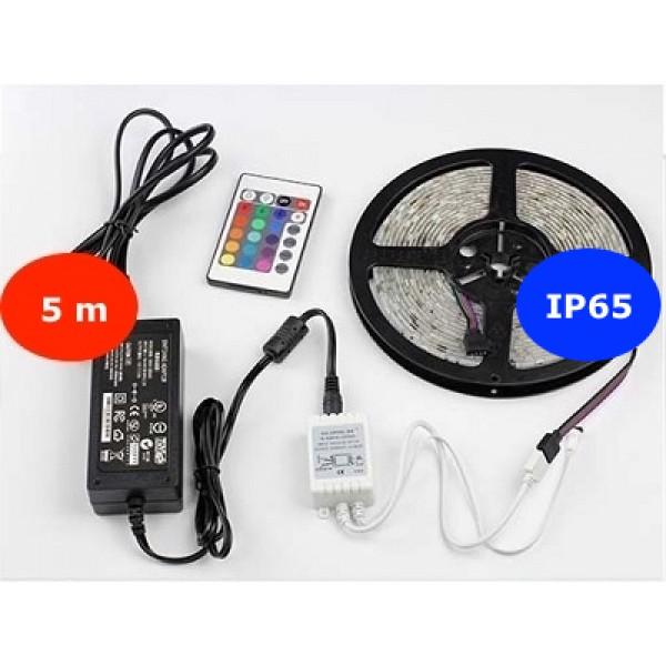5 m KÜLTÉRI RGB LED szett 24 gombos távirányítóval -30LED/m