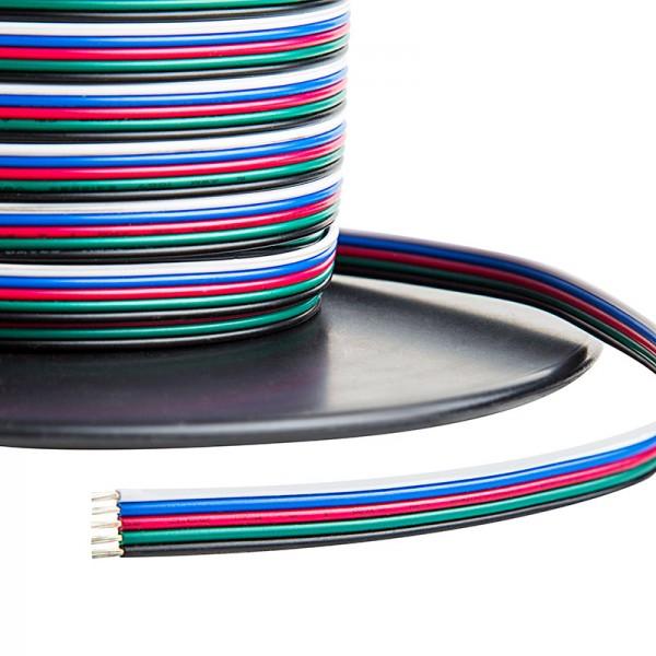 Színes vezeték , RGBW LED szalaghoz , 6 eres (fekete/fehér/kék/piros/zöld,sárga)