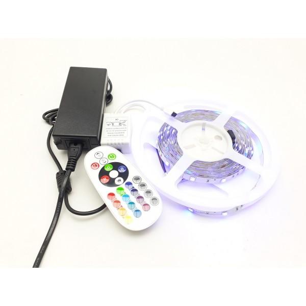 Szett , 5m RGB szalag + Dimmer , 24 gombos távirányítóval + tápegység