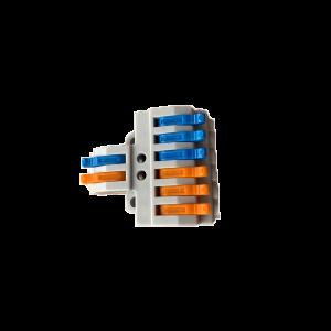 2 pólusú 2x3 vezetékes gyorscsatlakozó elosztó sodrott vezetékhez 600V 32A 4mm2