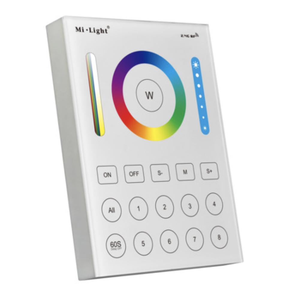 Miboxer fali érintős 8 csatornás távvezérlő panel fehér és színes szalagokhoz fényforrásokhoz