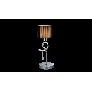 Elegáns asztali lámpa, króm, sötétbarna szövet búra, E27, LILLY lámpacsalád
