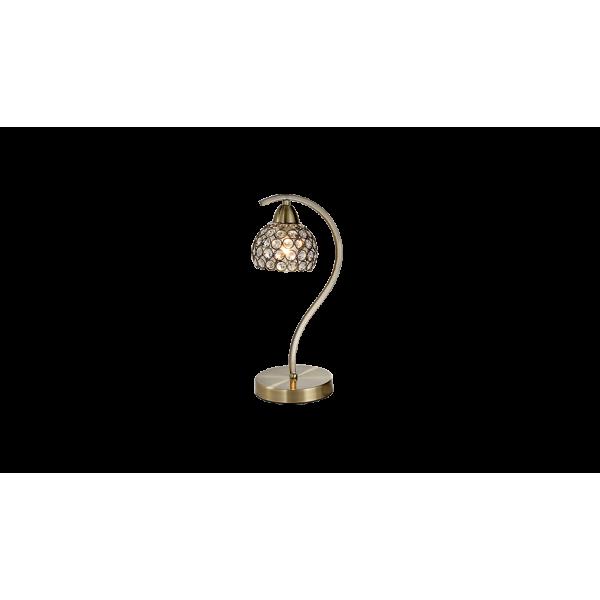 Elegáns antik asztali lámpa, sárgaéz, díszes üveg búra, E14, LIZA lámpacsalád