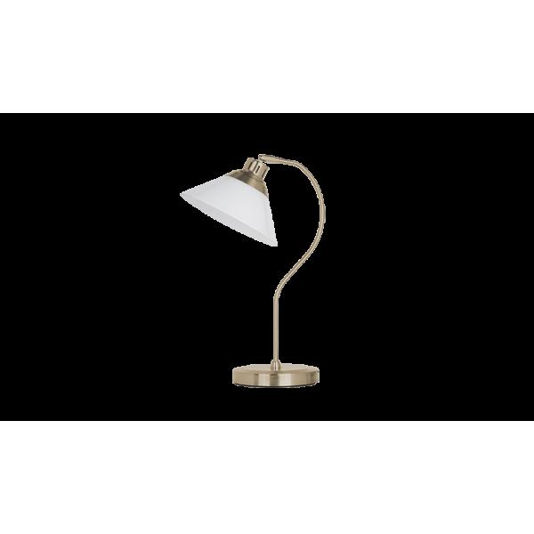 Antik stílusú Sárgaréz asztali lámpa E27, opál üveg búra, MOLLY lámpacsalád