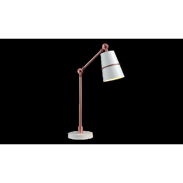 Elegáns asztali lámpa fehér fém búra, sárgaréz kar, E27, SPIDER lámpacsalád