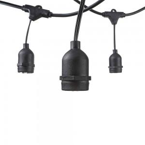 Kültéri fényfűzér 10 darab E27 foglalattal 6 méter