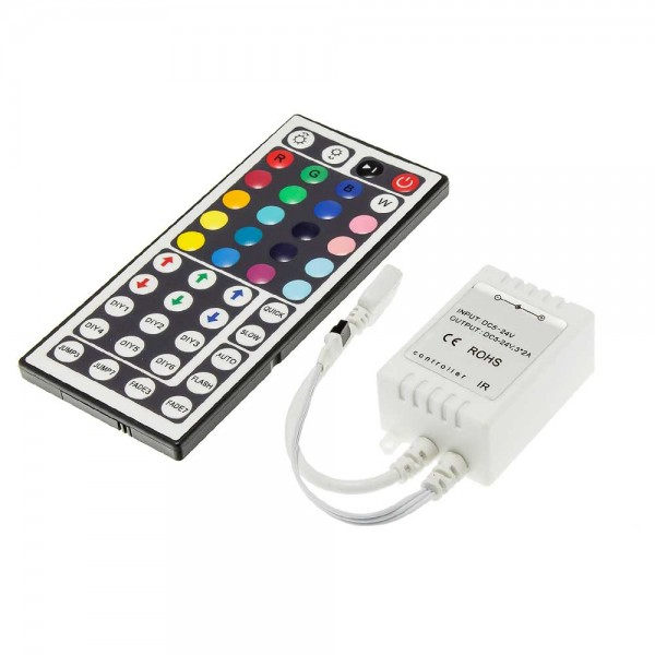 Dimmer , RGB , Távirányítós , 12V (12A/144W) , 44 gombos