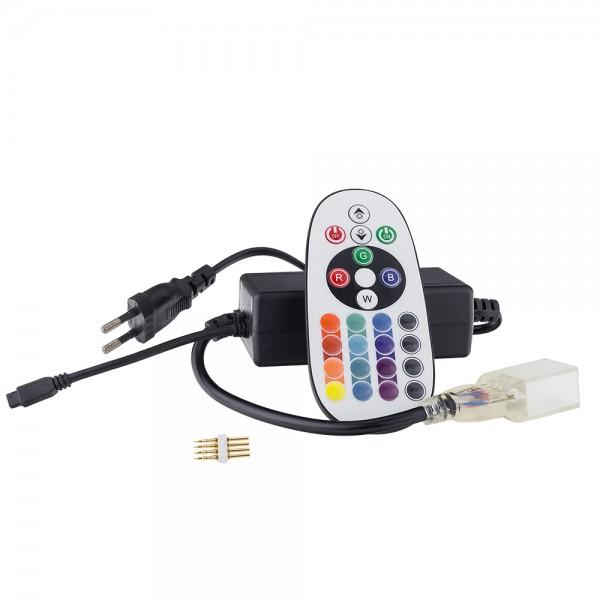 Dugvillával szerelt RGB Flex neon betáp kábel Vezérlő egységgel 230V-os- Optonica