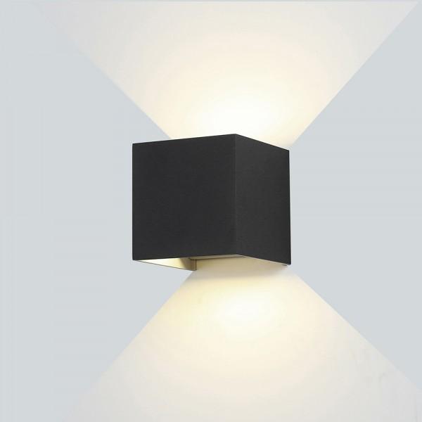 Kültéri oldalfali LED lámpa fekete 6W 3000K - Optonica