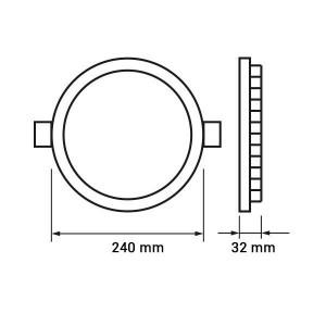 Optonica süllyesztett kerek CCT LED panel állítható fehér fény dimemelhető 3000K-6000K 24W