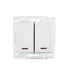 DOMO Jelzőfényes dupla nyomókapcsoló    , fehér
