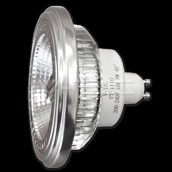LED lámpa , 12V DC , AR111 foglalat , 12 Watt , 40° , meleg fehér