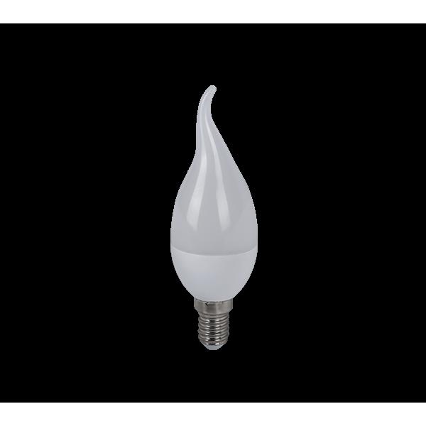 LED lámpa égő, E14 foglalat, gyertya láng forma, 6 watt, hideg fehér